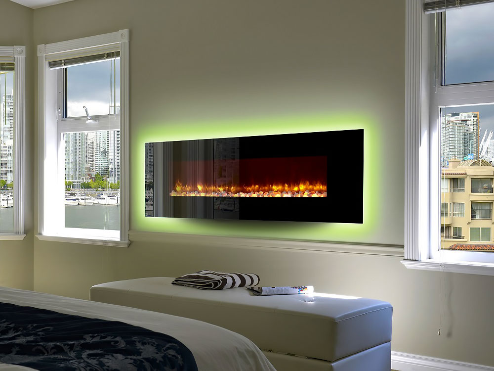 Electric fireplace in bedroom